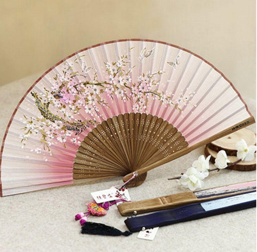 Pretty Chinese Japanese Folding Hand Held Fan Silk Plum Flower Bamboo Gift Style