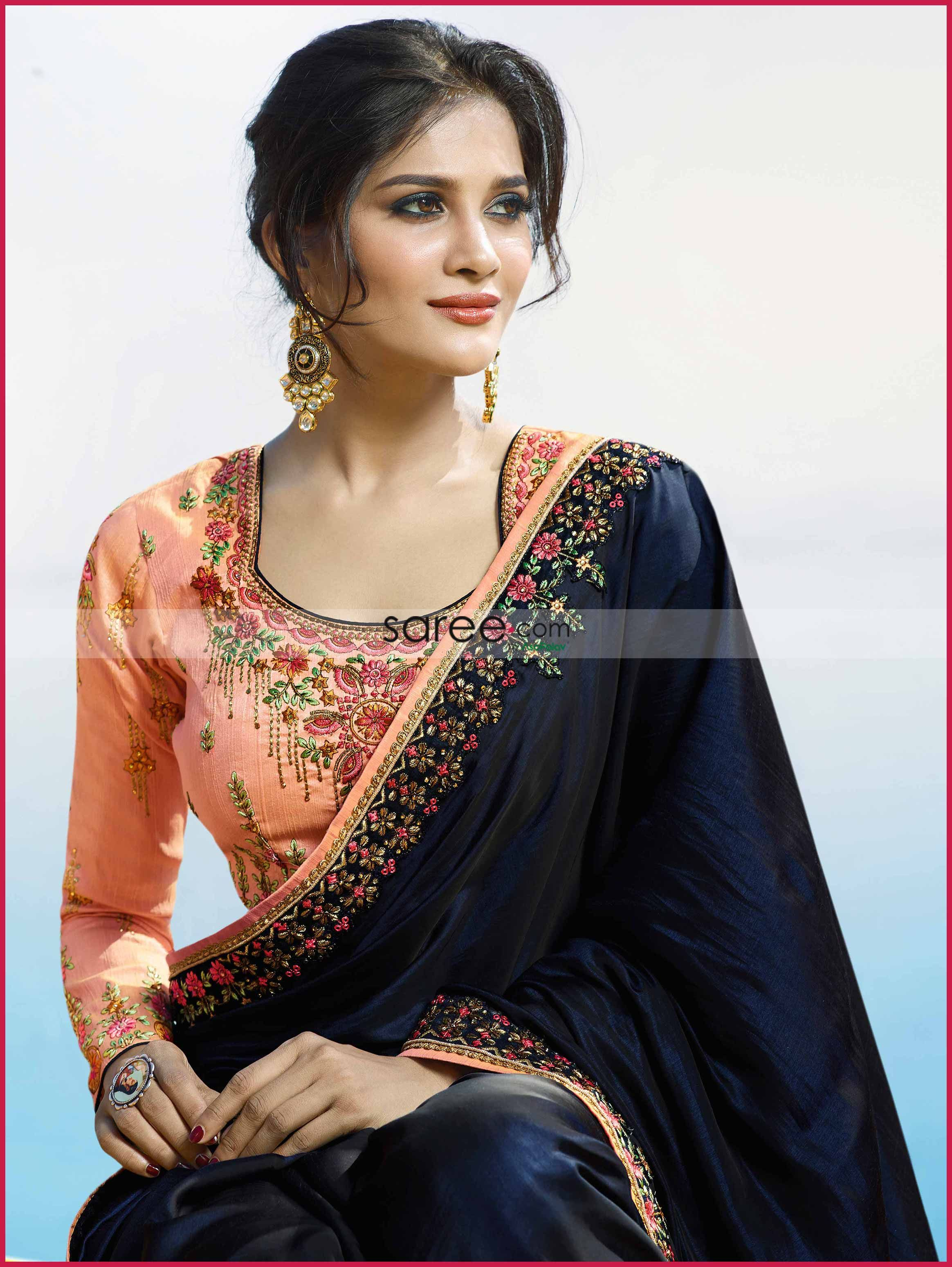 e09bfd8281d5aa Modish Matki Neckline Skim and Contour your pretty collar bones with this  alluring neckline style. Get more Blouse Designs Ideas from Saree.com
