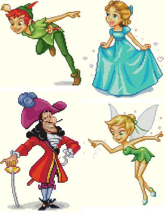 Set Of 4 Peter Pan Cross Stitch Patterns Peter Pan Wendy Captain