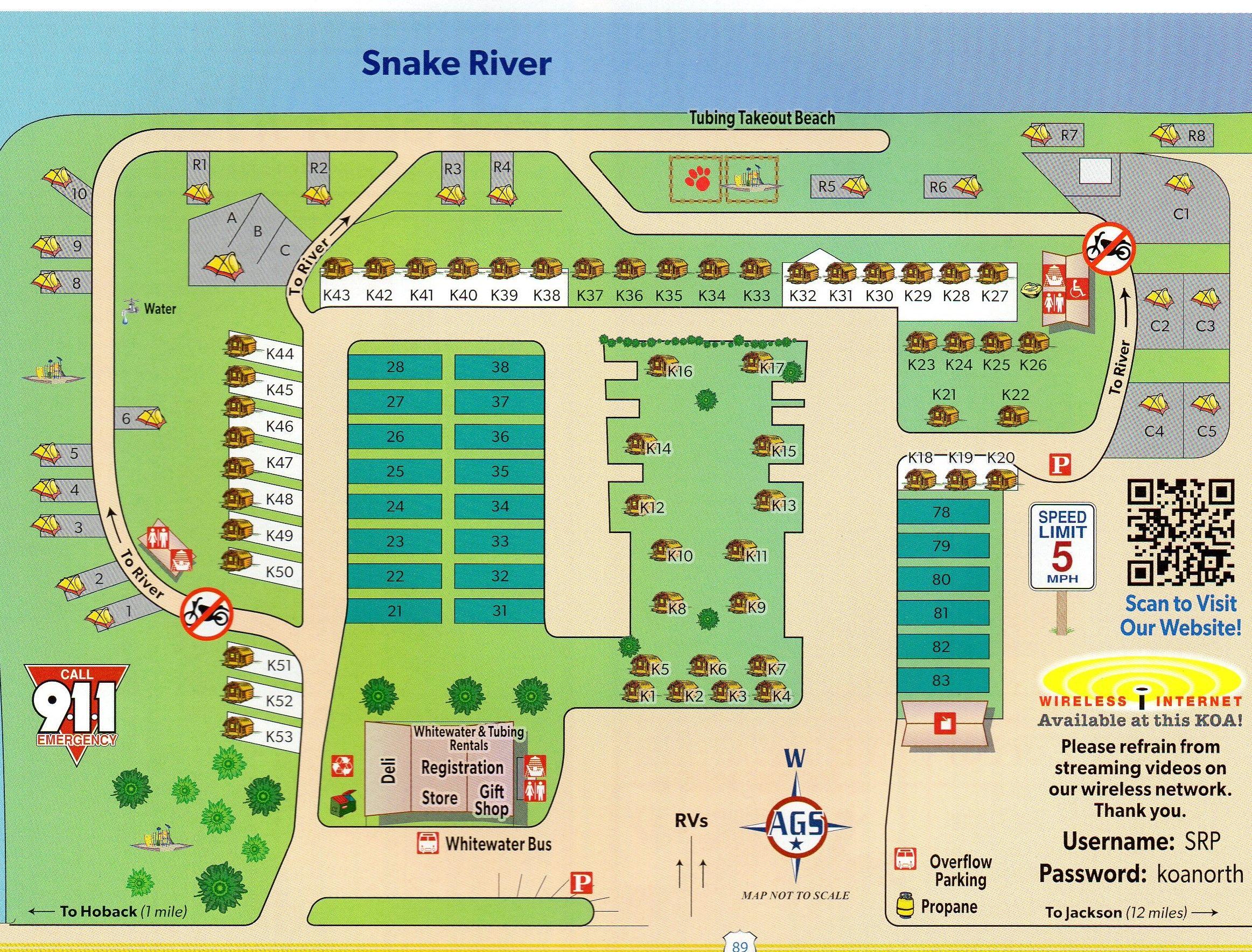 Snake River Koa Campground Site Map Yellowstone Trip