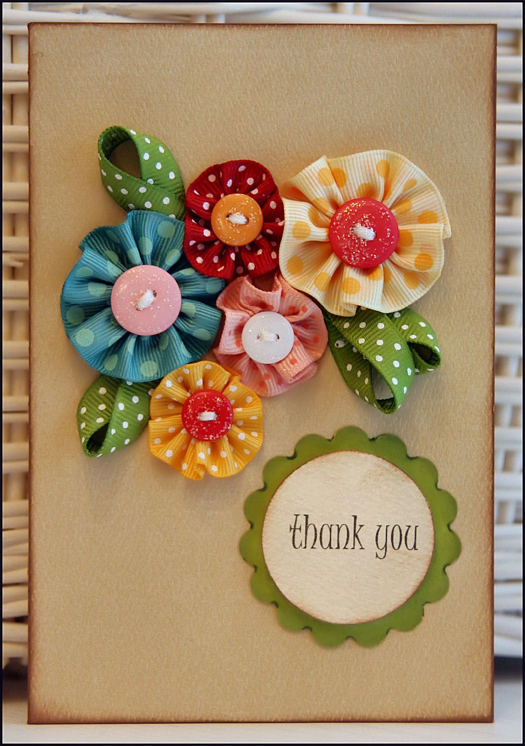Ribbon flowers card i bet this same idea could be used with ribbon flowers card i bet this same idea could be used with crocheted flowers too so beautiful cards pinterest flower cards flower and cards izmirmasajfo