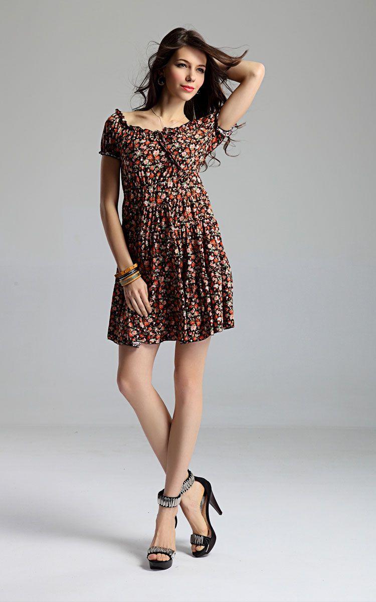 Flower Patterned Cap Sleeve Summer Dress - vestidos cortos ...