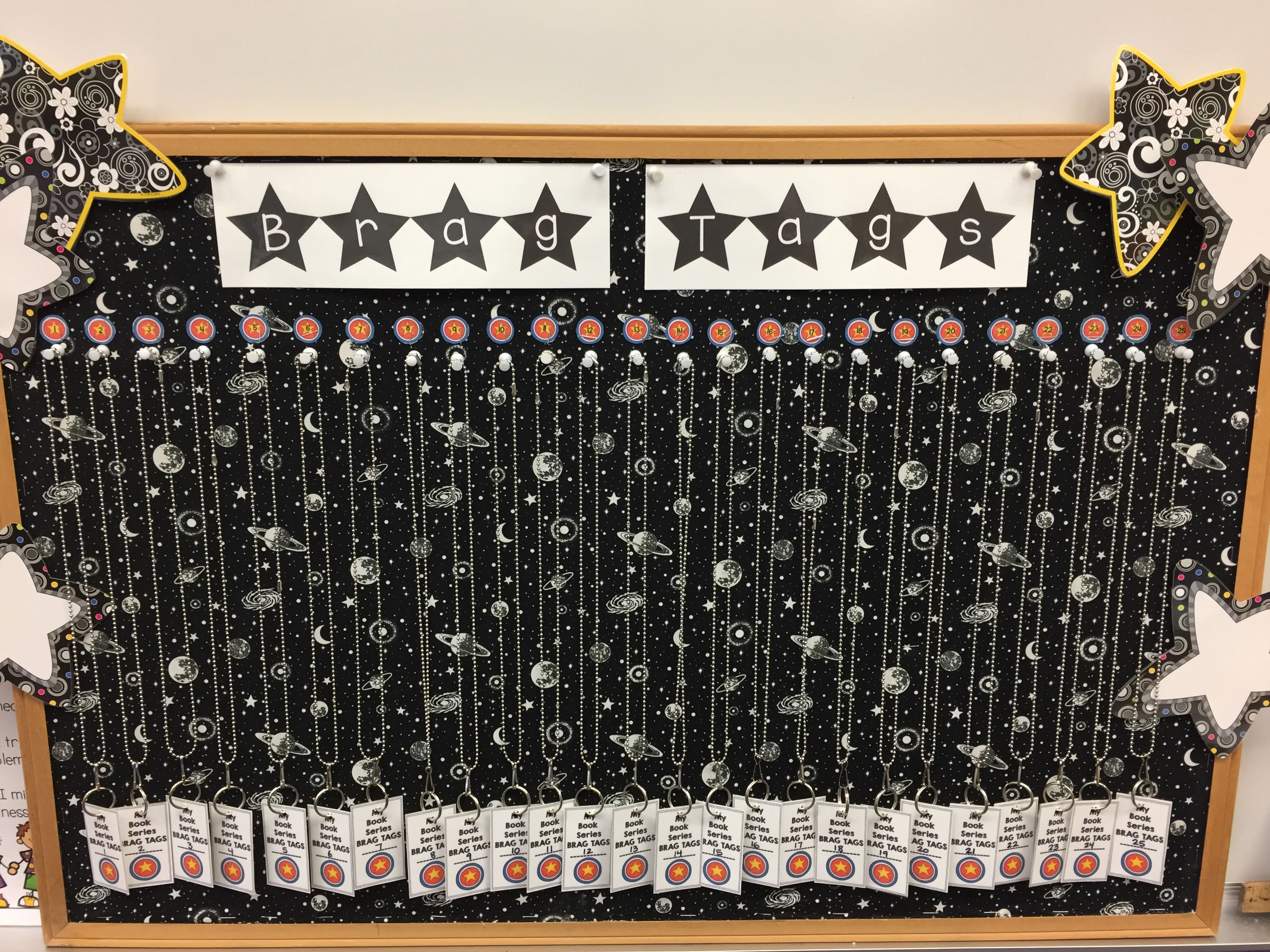 My brag tag board for author studies. Students earn brag tags for reading books in a series or by authors.