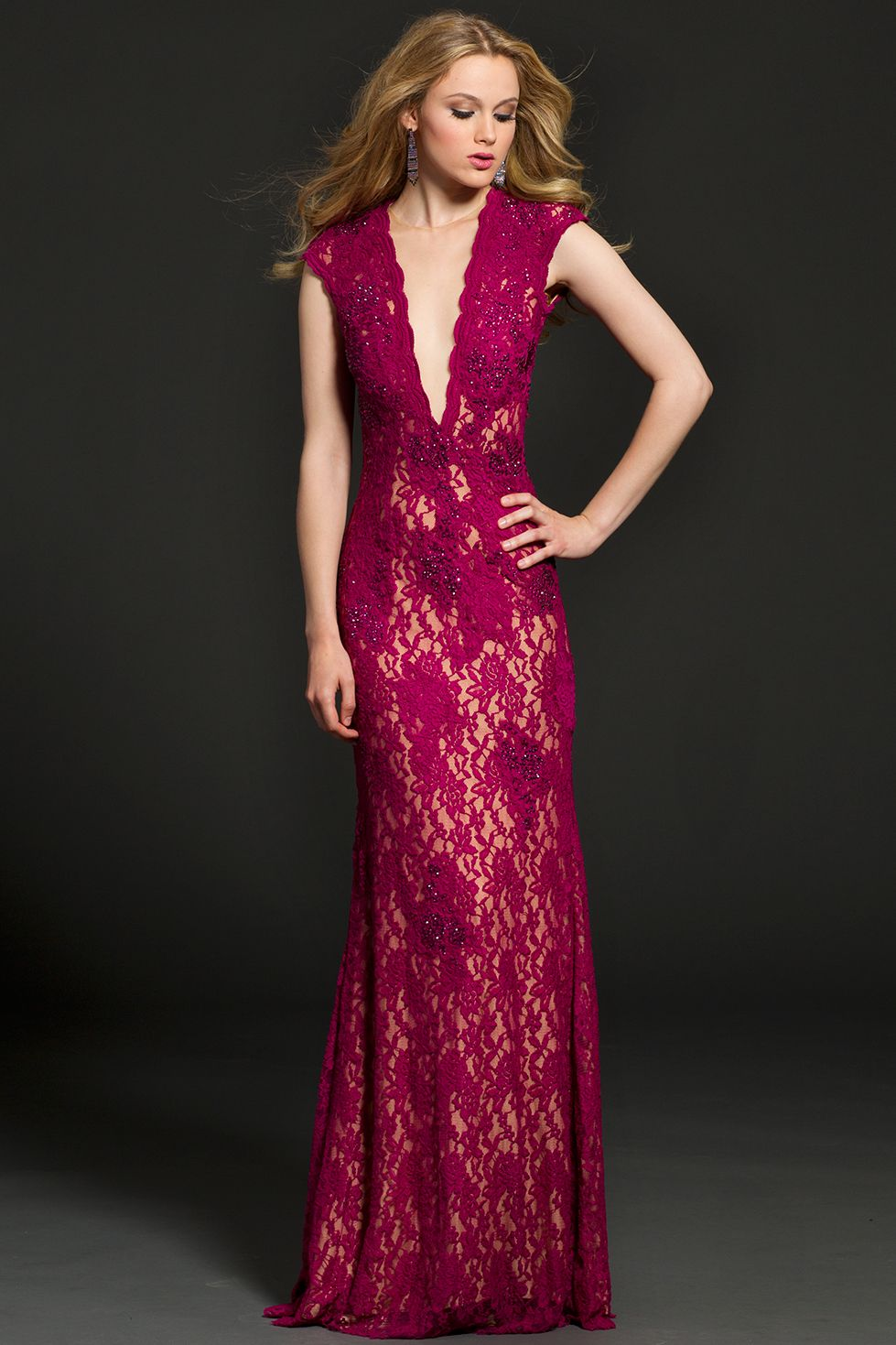 3bb42b3009158 Open Back Lace Jovani Gown, #9884, in Wine. | Cap sleeve Jovani fitted dress  with a sexy open back and sheer illusion plunging neckline features an ...