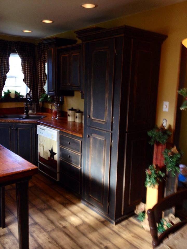 Dark Wood Kitchen Cabinets Farmhouse Decor