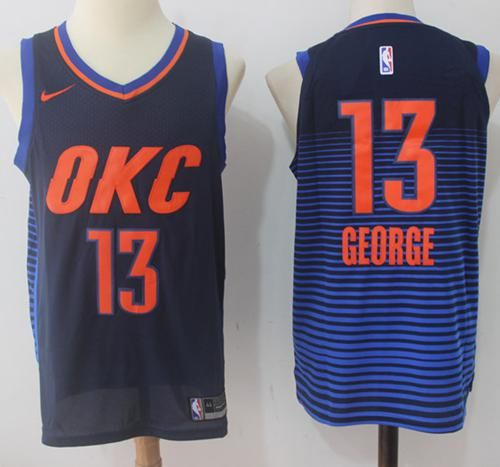 competitive price 21f9a 980e9 ... discount code for nike thunder 13 paul george black blue nba swingman  jersey f14c0 a2dbd
