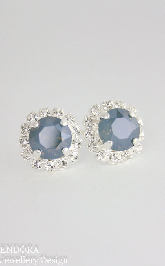 Blue bridal earringssteel blue weddingsteel blue earrings