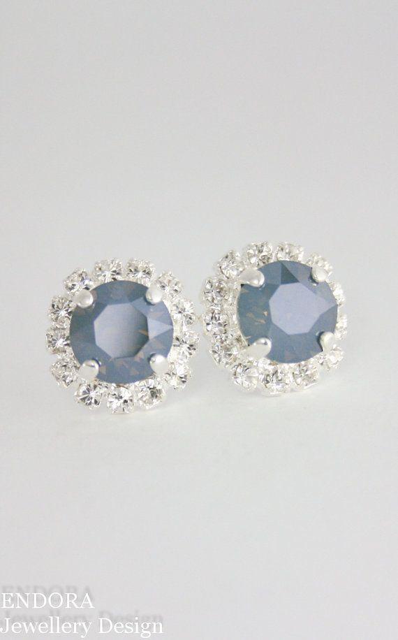 Blue bridal earrings,steel blue wedding,steel blue ...