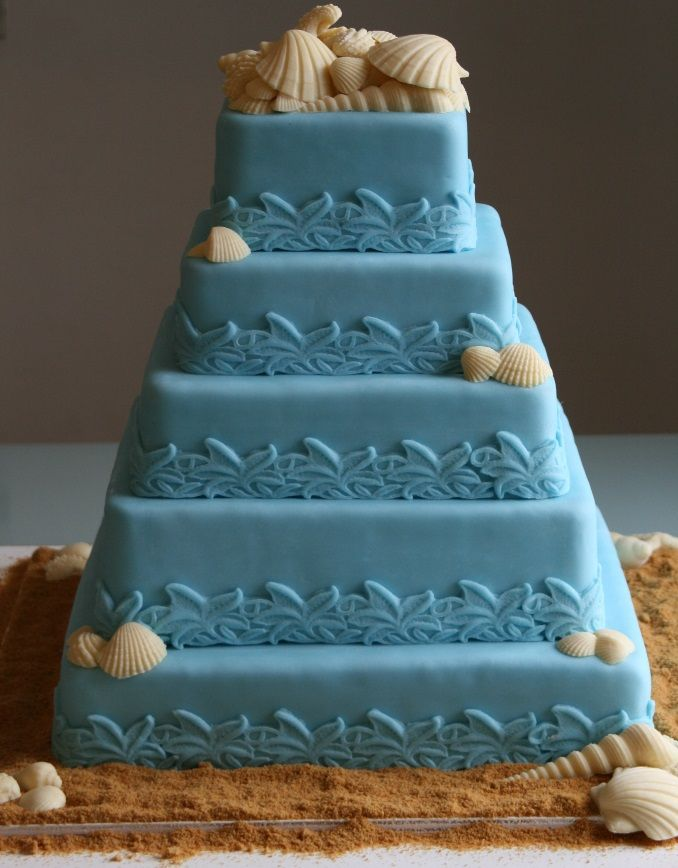 Beach Theme Wedding Cakes Blue Color 5 Tier Wedding Cake Decorated