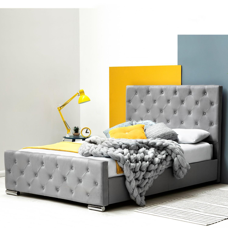 Buckingham Grey Velvet Fabric Upholstered Bed Frame Double