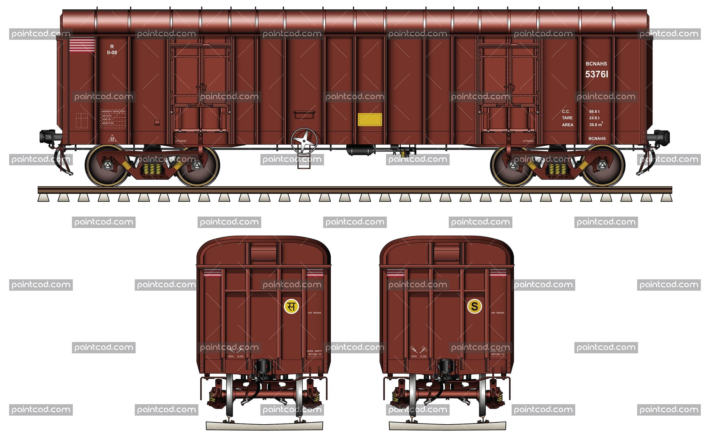 Covered freight wagon type BCNAHS owned by Indian Railways