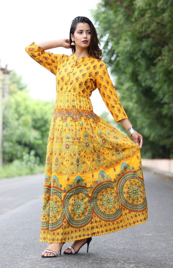 5a1c6ededf2 Jaipuri Kurti with Handcrafted Block Print for Women s   Girl s Clothing  Long Maxi Dress Cotton Fab