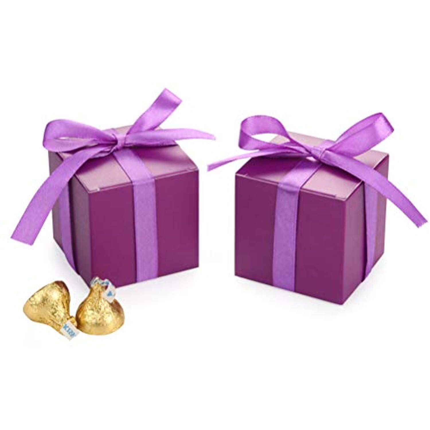 Purple Gift Candy Box Bulk 2x2x2 Inches With Ribbon Party Favor Pack Of 50 You Can Find More Details By Visiting The Image Link