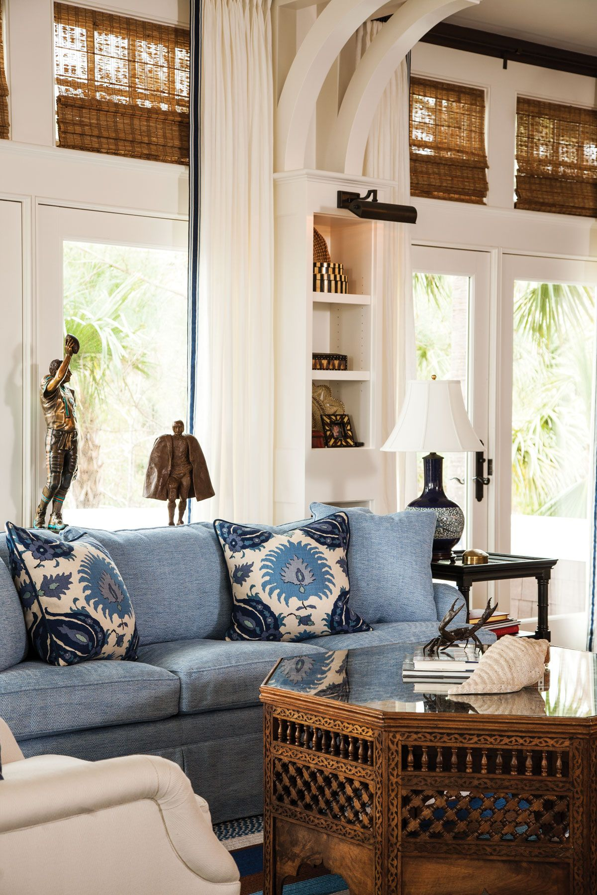 Home Florida Design Coastal Living Rooms Blue And White Living Room House Interior Florida living room furniture