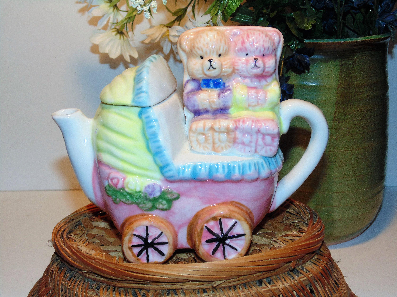 Baby Carriage And Bears Teapot Decorative Ceramic Tea Pot Baby