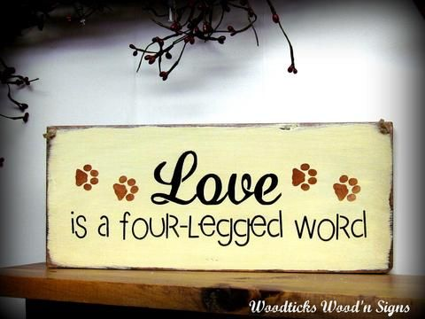 Love Is A Four Letter Word, Sign For Pet Lovers | Wall decor ...