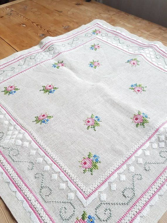 Lovely floral/roses cross stitch embroidered tablecloth in linen from Sweden