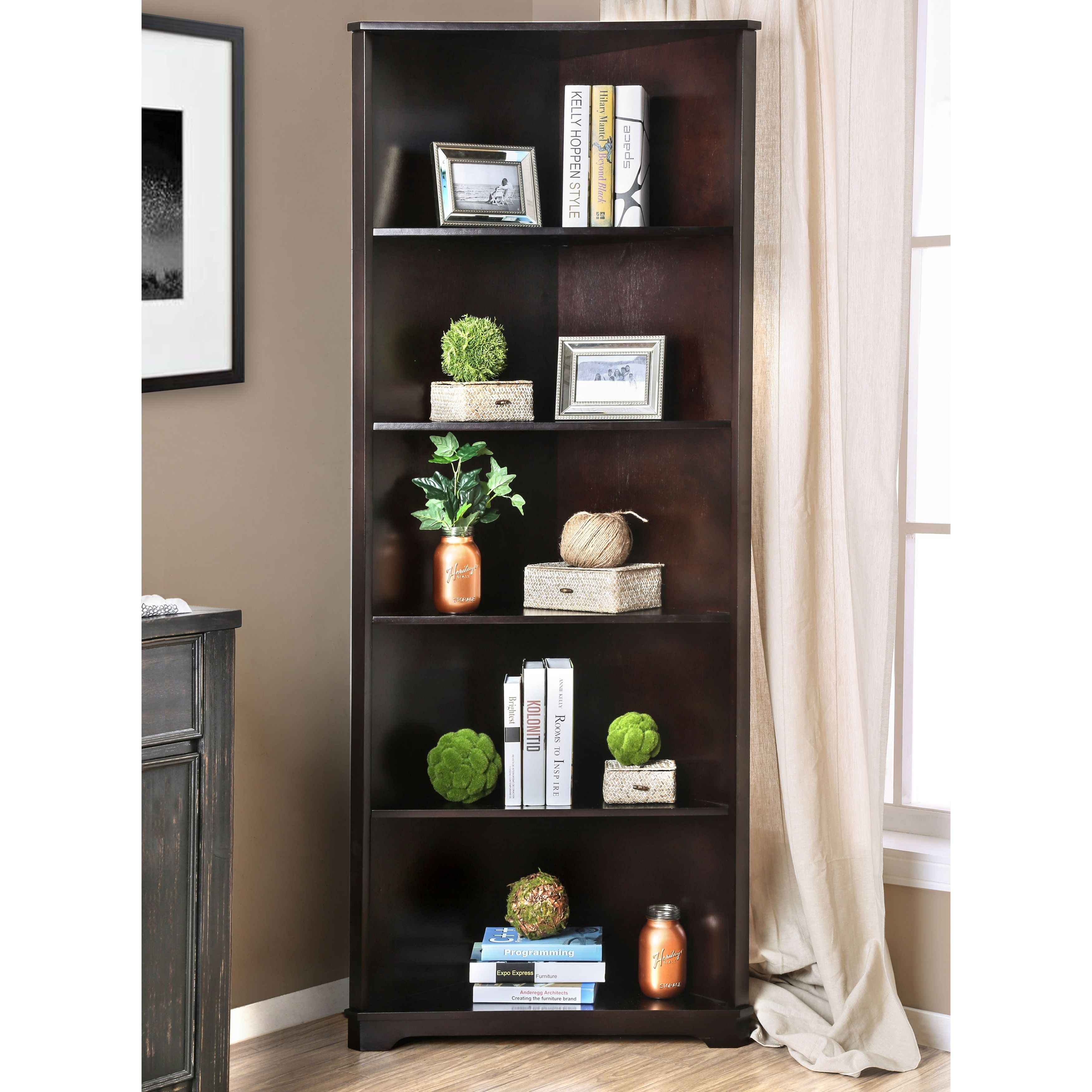Furniture Of America Copley Wood Contemporary 5 Tier Corner Bookshelf Espresso Brown