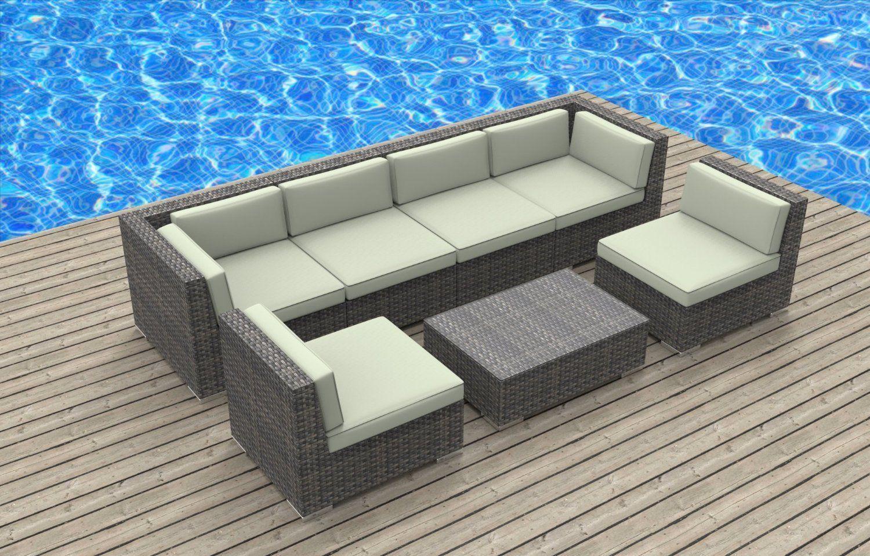 Prime Amazon Com Urban Furnishing Oahu 7 Piece Wicker Rattan Machost Co Dining Chair Design Ideas Machostcouk