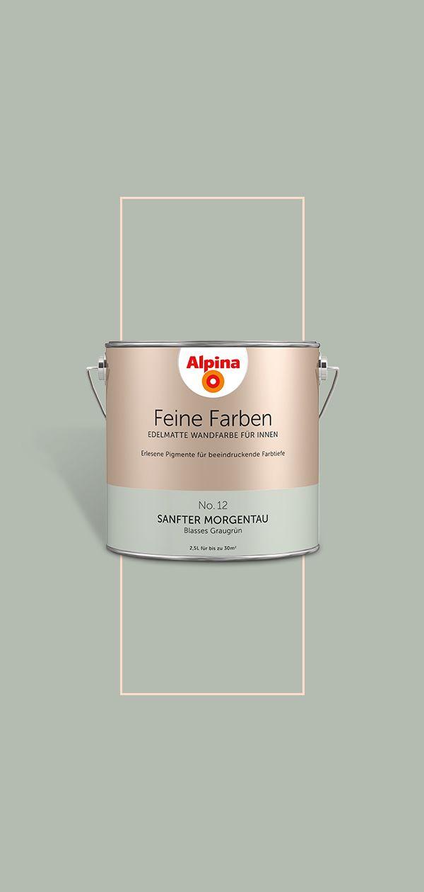 Alpina Feine Farben - Sanfter Morgentau | Blasses Graugrün Wandfarbe