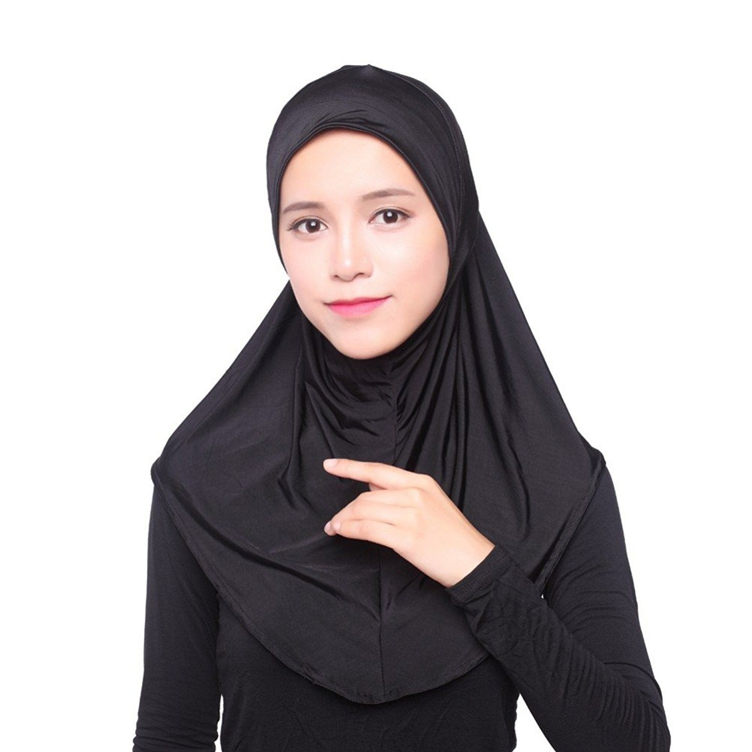 Embroidery Flower Lace Hot Drilling Muslim 1 Piece Instant Hijab Islamic Scarf