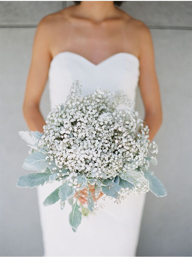 Donna Morgan Bridesmaid Dress Baby S Breath Bouquet