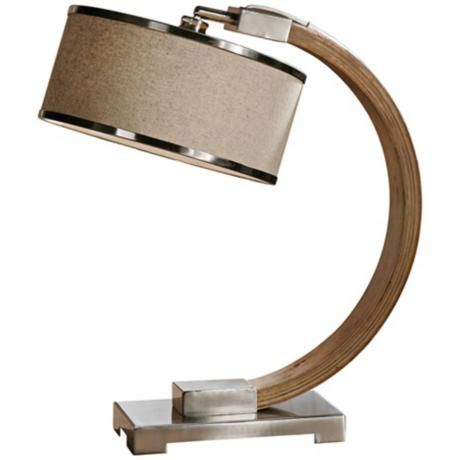 Uttermost Metauro Wood and Oatmeal Linen Desk Lamp