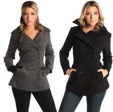 Womens Grey Pea Coat Photo Album - Reikian