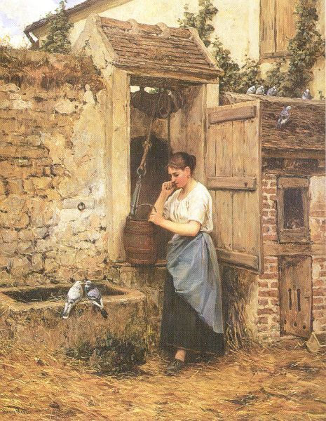 Henry Mosler (1841 – 1920) Peasant Girl And Doves