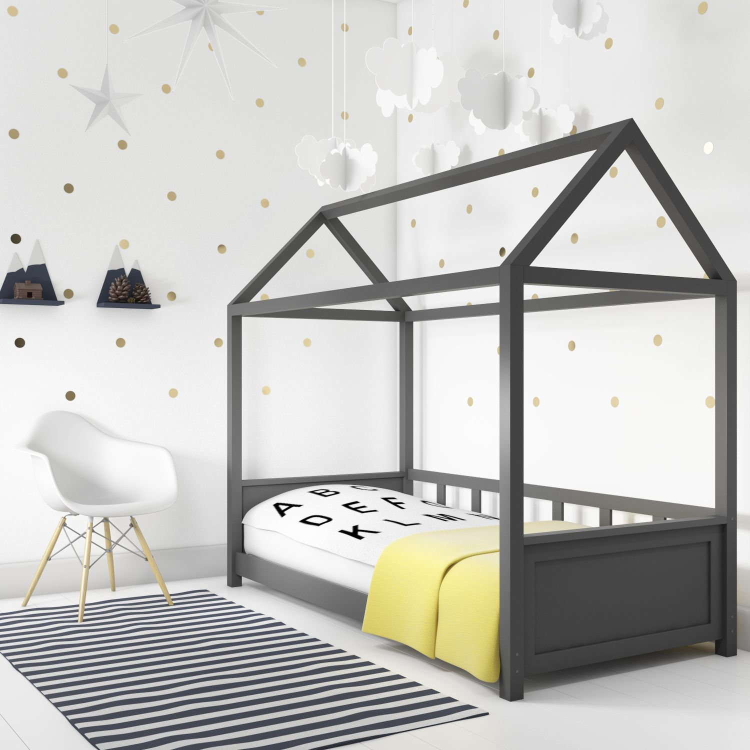 New In Coco Anthracite Dark Grey Kids House Bed Frame Also