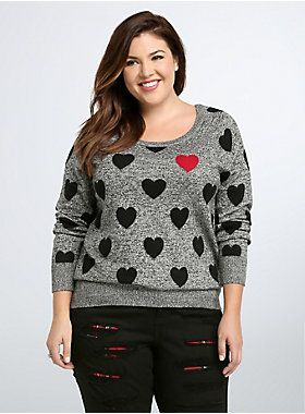 """<p>Heart on your sleeve? Try all over with this sweater! Grey and black marled knit is meant for keeping you cozy, the allover black heart print sends a sweet message. A bright red heart stands starkly against where your real heart beats.</p> <p> </p> <p><b>Model is 5'9"""", size 1</b></p> <ul> <li>Size 1 measures 27 1/4"""" from shoulder</li> <li>Cotton</li> <li>Wash cold, dry flat</li> <li>Imported plus size sweater</li> </ul>"""
