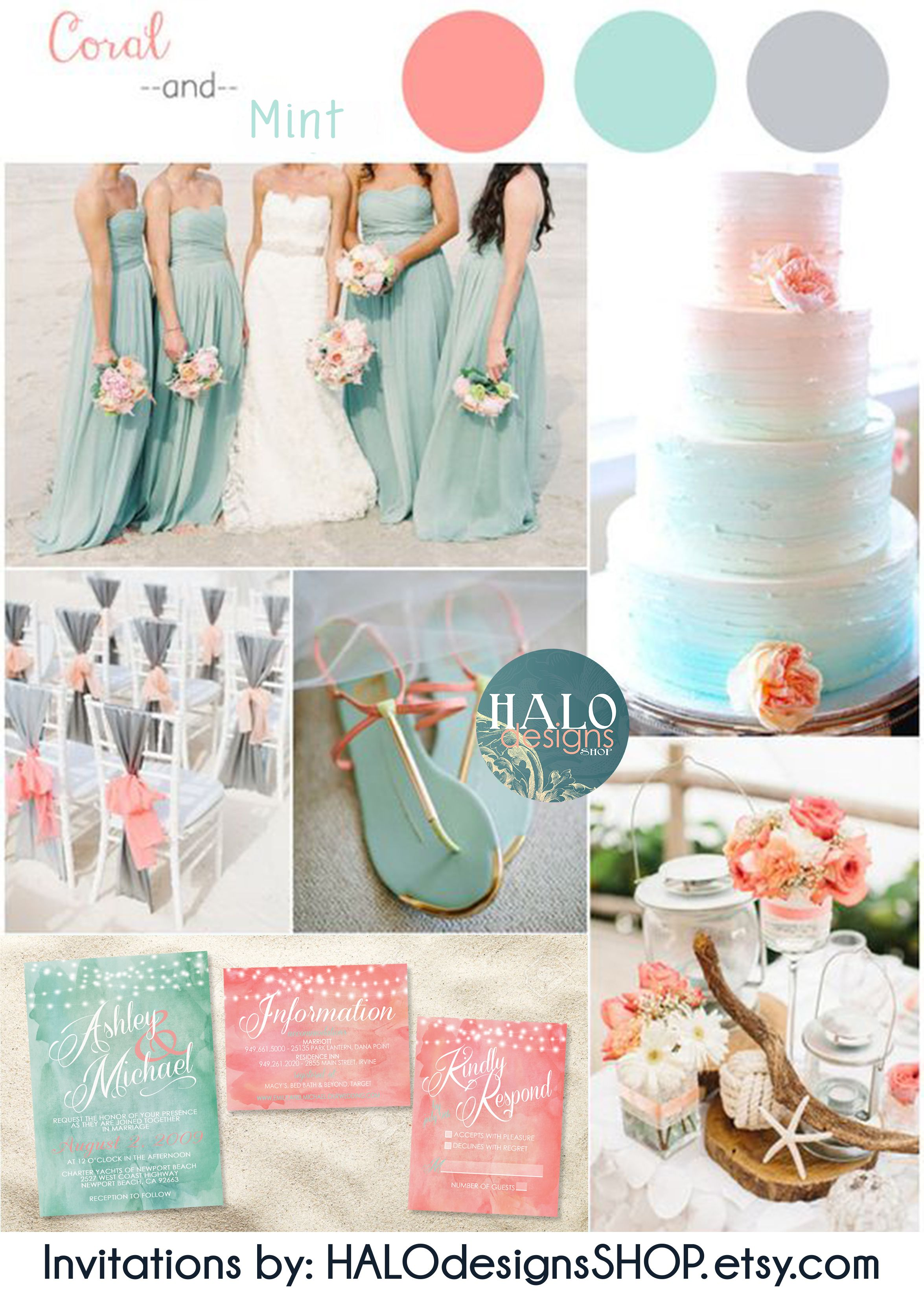 Mint and Coral Water Color Beach Wedding Invitations - Coral Mint ...