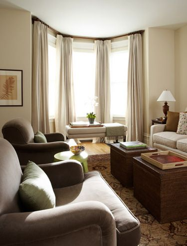 I like the soft colors for the living room and the drapes - Curtains for bay windows in living room ...