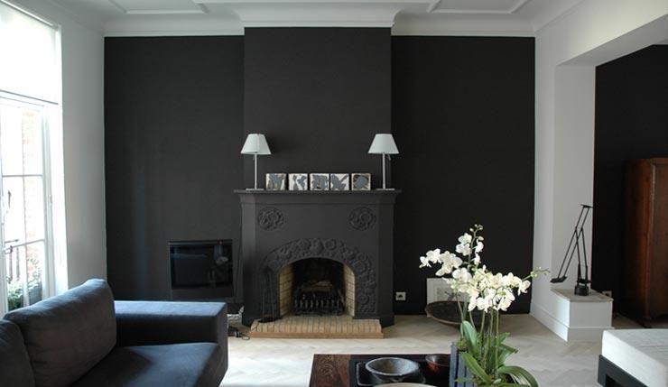 Cheminée et mur gris foncé | salon | Pinterest | Salons