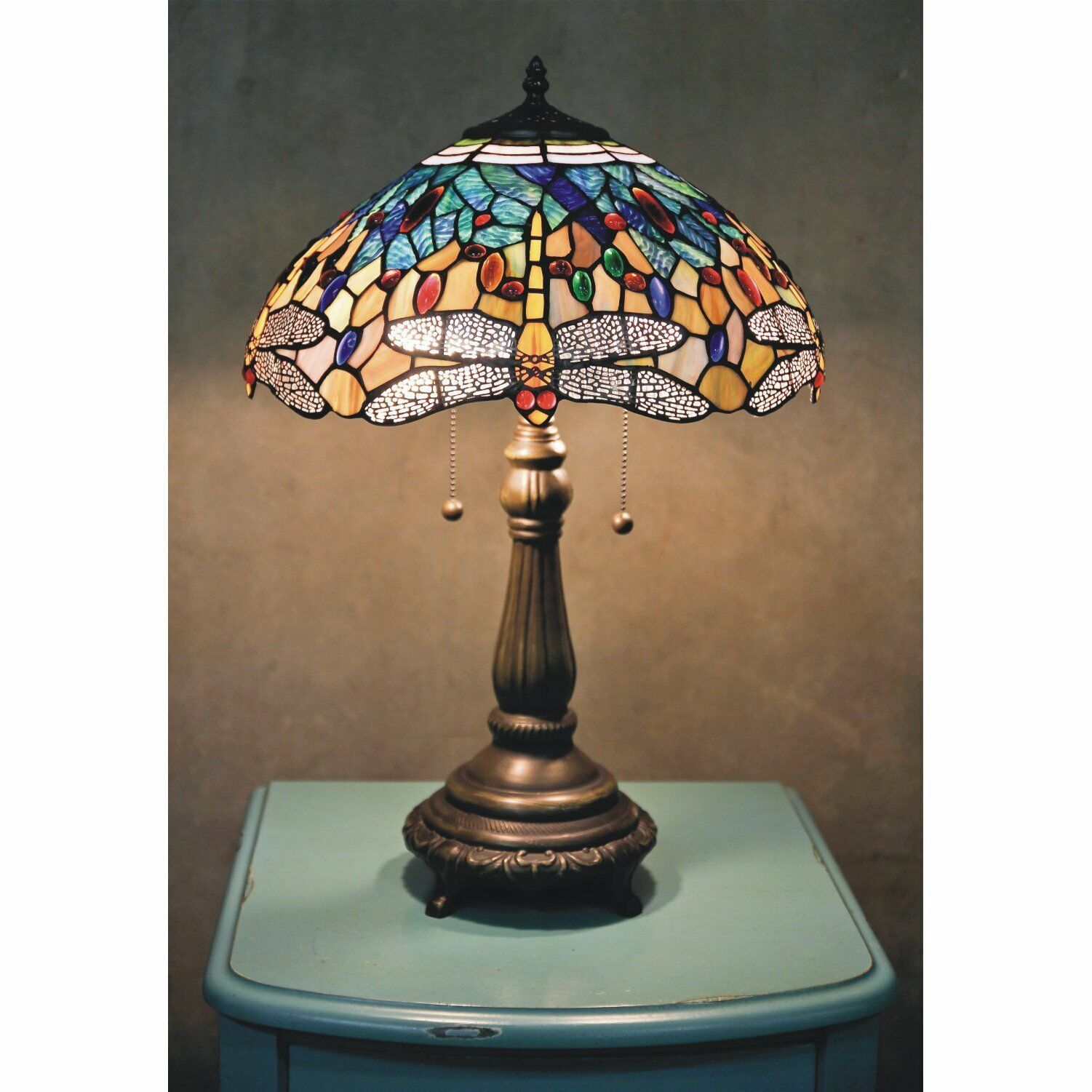Details About Stained Glass Tiffany Style Yellow Dragonfly Table Lamp 2 Lights 16 Shade Table Lamp Tiffany Style Lamp Metal Table Lamps