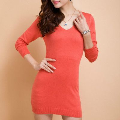 NEW V-neck Cashmere Sweater dress Ms. long section package hip sweater knit Sweater Hedging solid Sweater