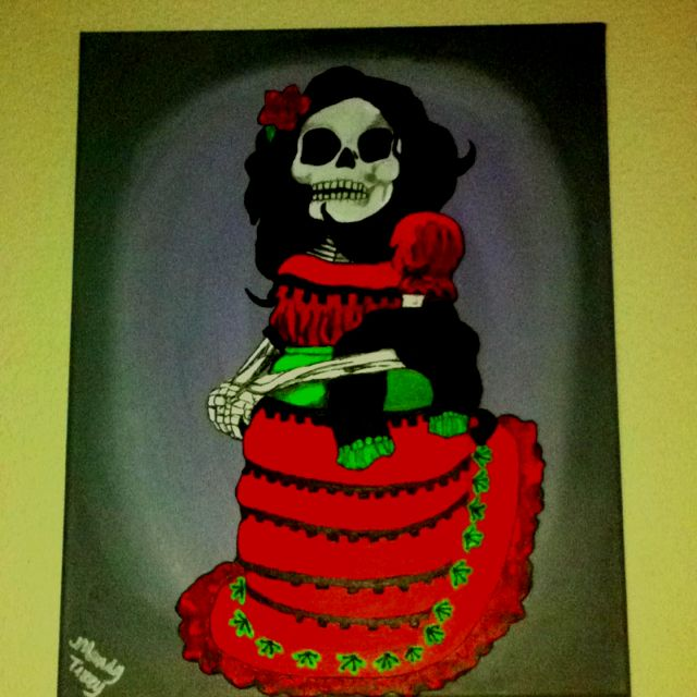 Day of the dead painting - SOLD   Interested?  I can do another like this for you.  Just contact me at mandyterry@gmail.com
