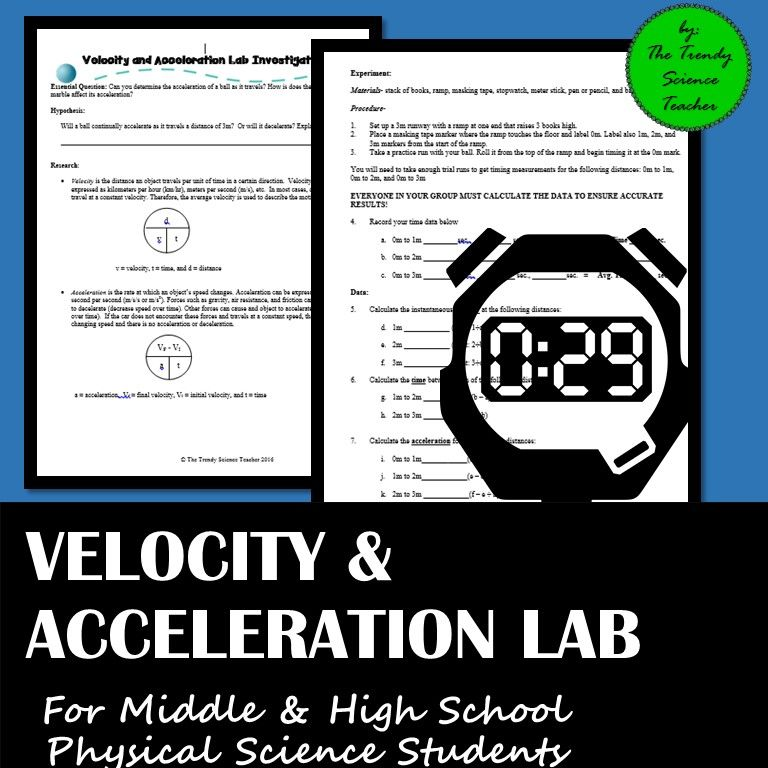Velocity and Acceleration Lab Activity for Middle and High ...