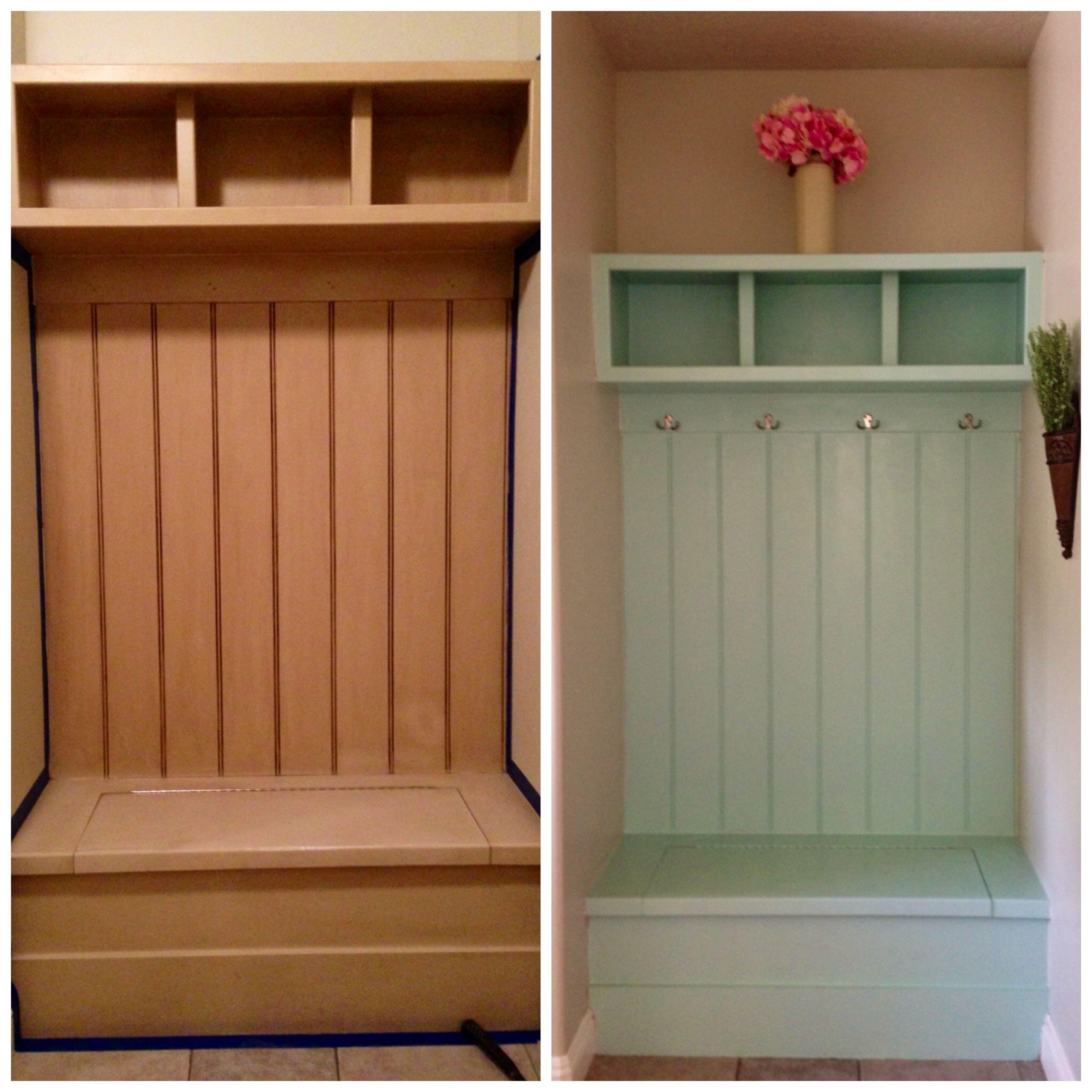 48 Hour | $25 Mud Room Makeover. Mint Green DIY Paint. Valspar | Sweet