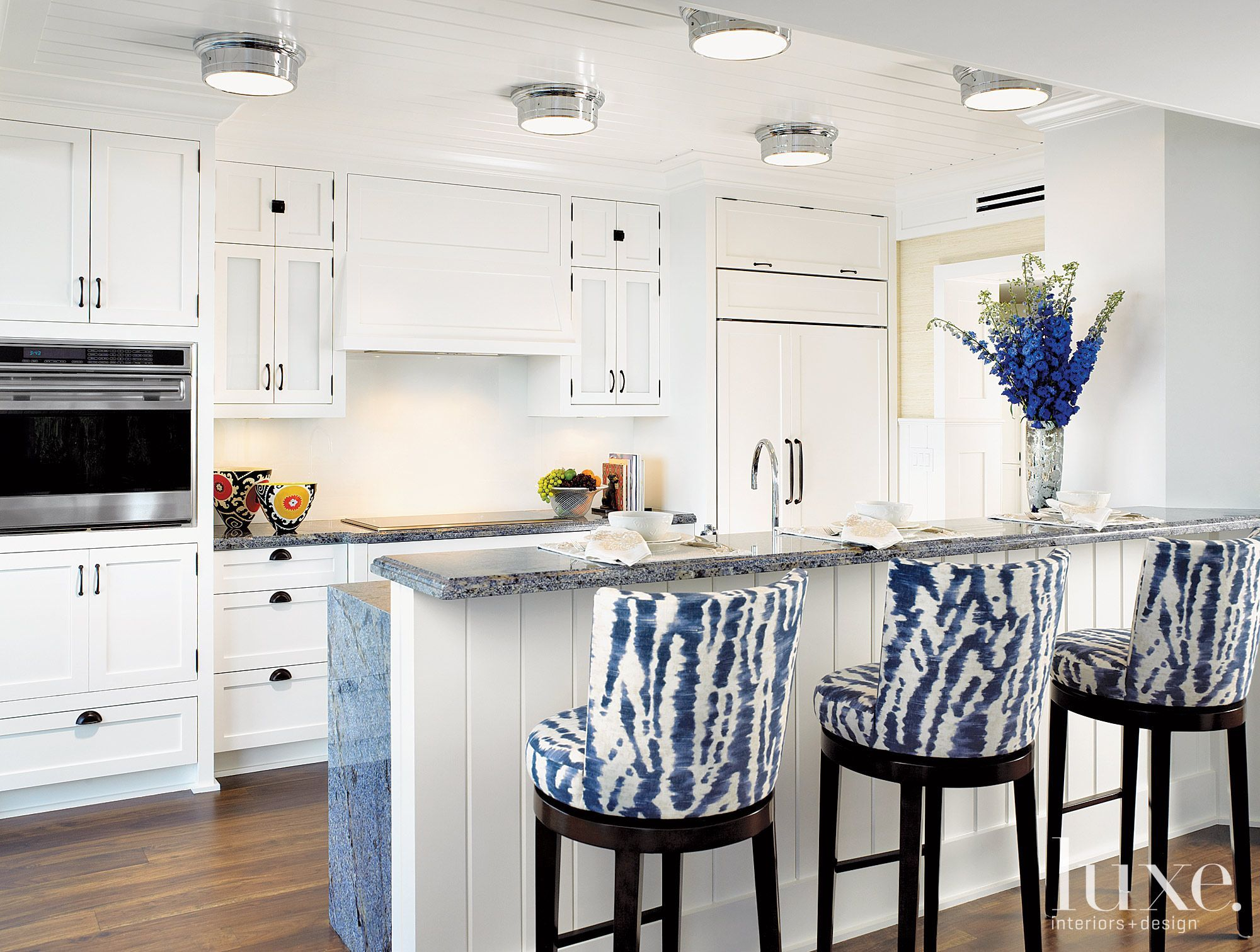 Two slabs of marble were bookended to create the long island large