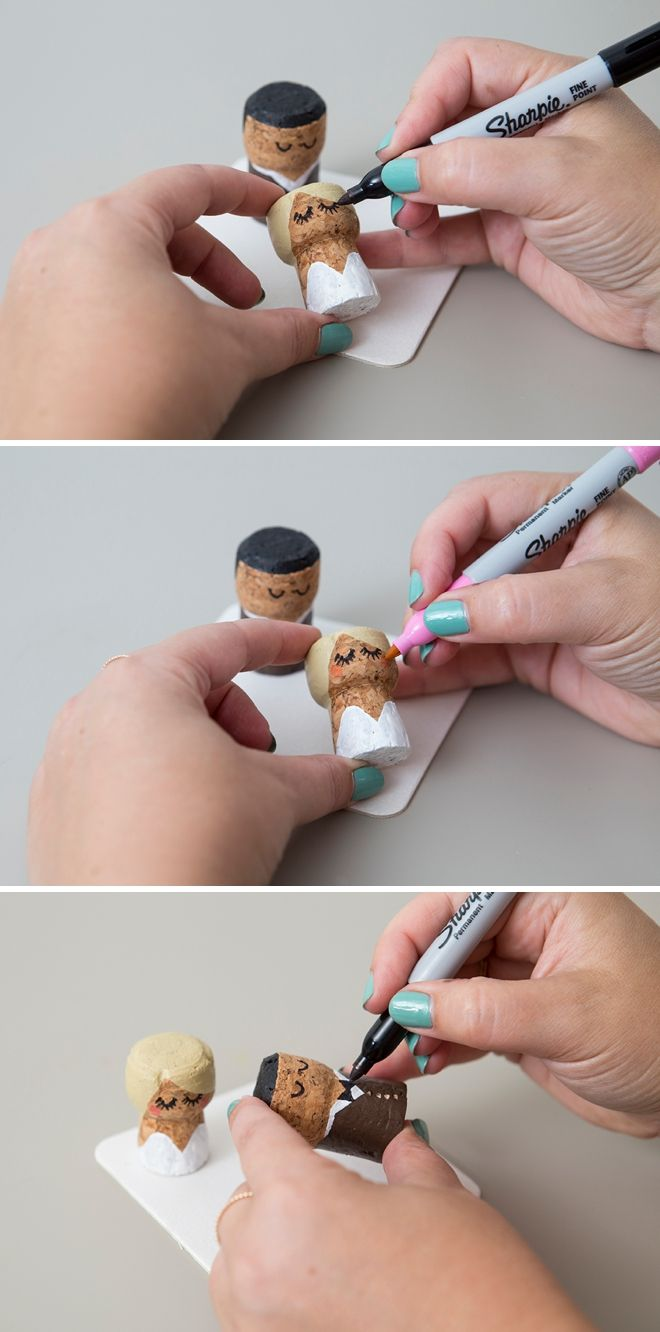 You have to see these diy painted champagne cork bride groom