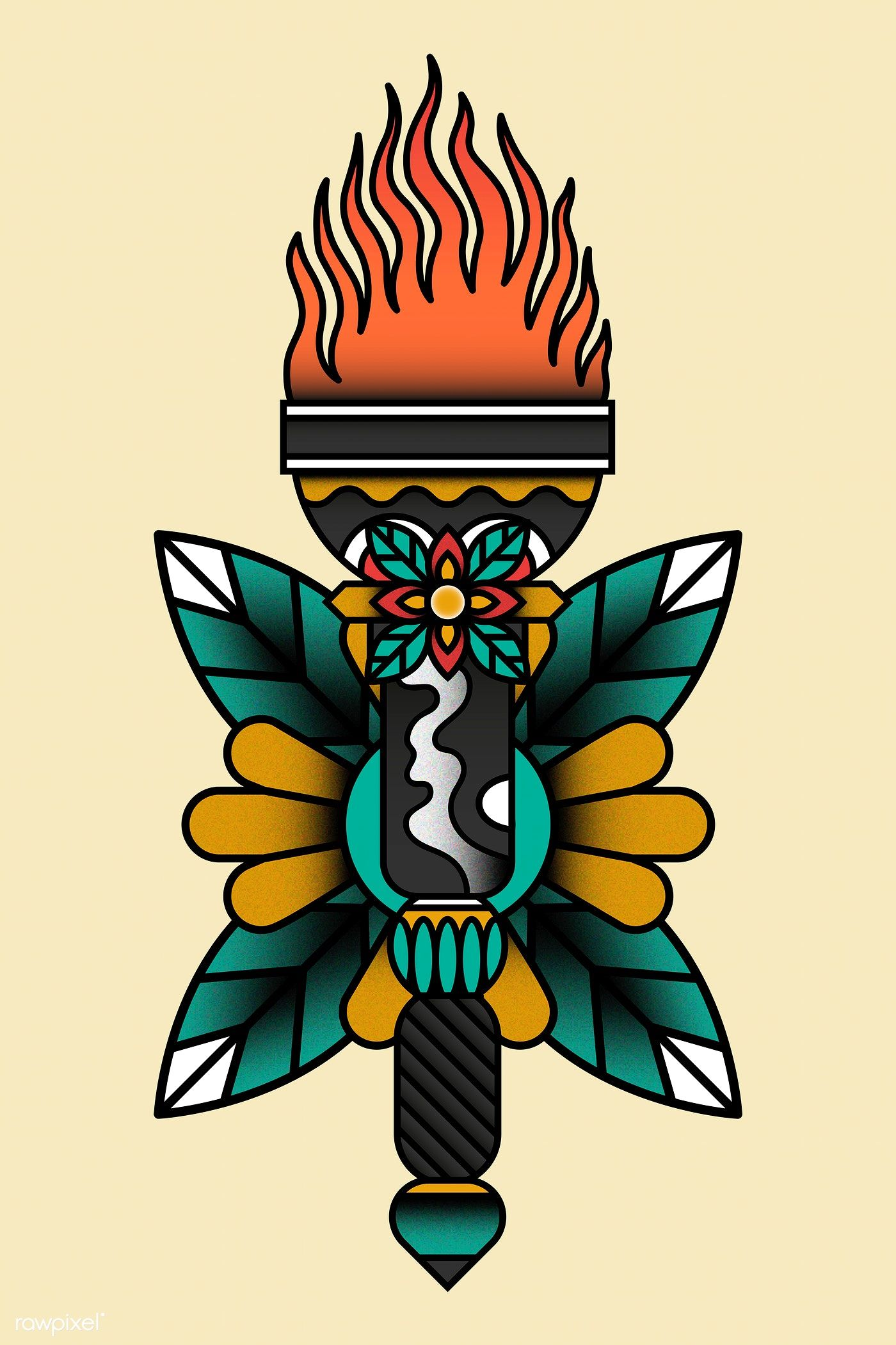 Download premium illustration of Traditional torch sticker