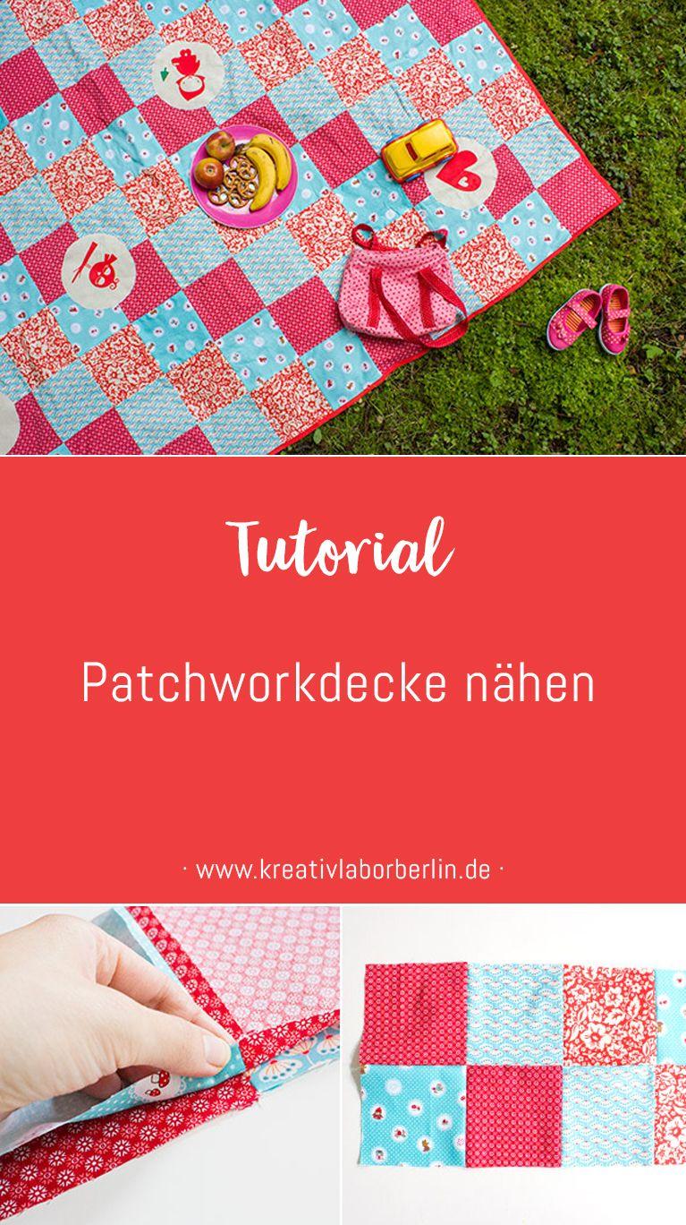 Eine einfache Patchwork-Decke nähen | Schnittmuster Deko | Pinterest ...