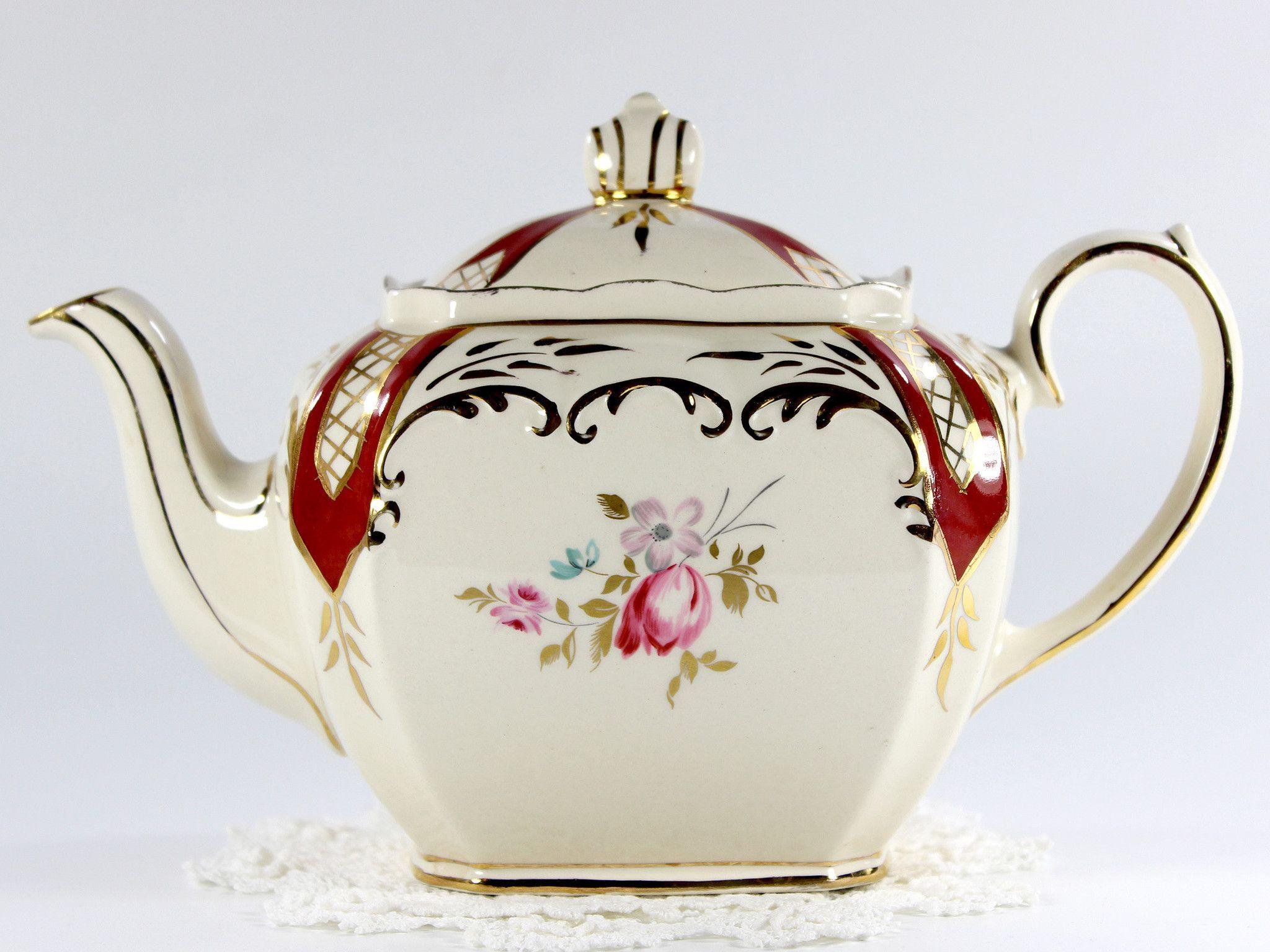 Sadler Cube Teapot Tea Pot - Pink Roses England 12691