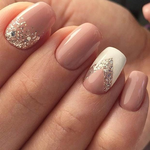 Sparkly Neutral And White Nail Art Design For Prom Nail