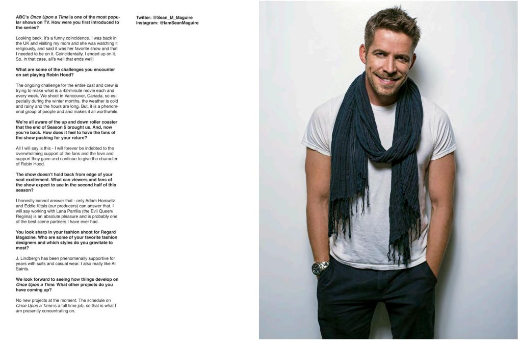 Sean Maguire For Regard Magazine Issue 40 January 2017 With