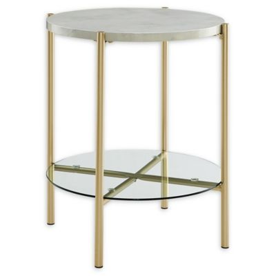 Forest Gate 20 Giselle Modern Round Side Table In Faux Marble Gold Marble End Tables Gold Side Table Marble Side Table Round