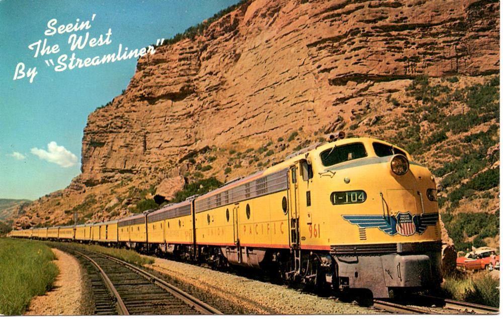 Vintage Postcard Union Pacific Railroad Train 1940s Or