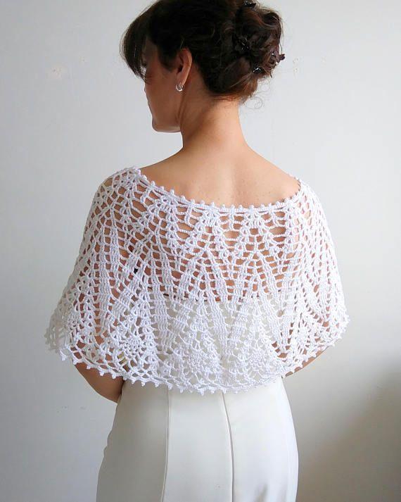 Blanca capa crochet envoltura boda cabo poncho lacy estola   Agujas ...