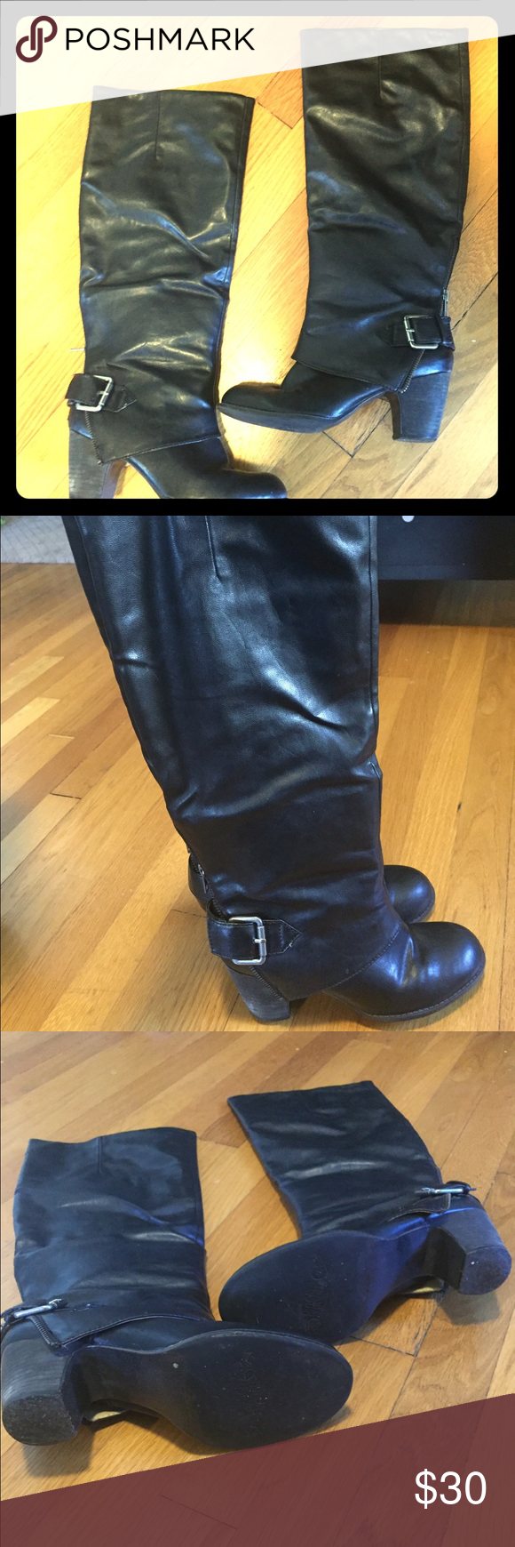 🍁Nine West Black Boots🍁 Bought at Macy's for over $100. They are great boots and very comfy. The only flaw is some of the finish has scuffed off where the creases are on the top inside of the foot. Not noticeable when wearing and may be able to be repaired. Still in very great condition. Price reflects flaws. Nine West Shoes Heeled Boots